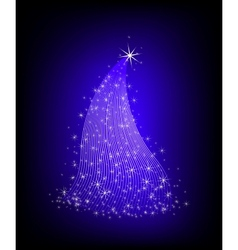 Christmas violet tree with stars vector image