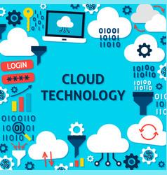 Cloud technology paper template poster vector