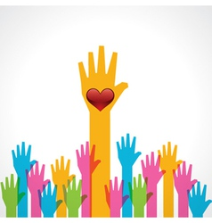 Colorful helping hand with heart vector image
