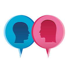 Colorful relief dialogue between man and woman vector