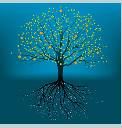 complete tree with roots branchs and leafs vector image