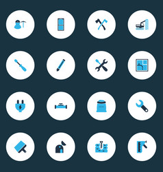construction icons colored set with observatory vector image