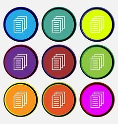 Copy file Duplicate document icon sign Nine multi vector