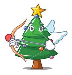 Cupid christmas tree character cartoon vector
