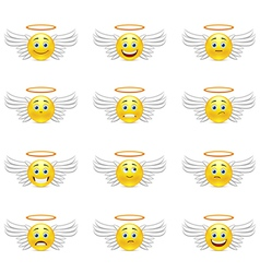 Cute emoticons angels vector image