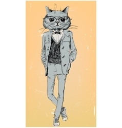 Cute fashion hipster cat vector