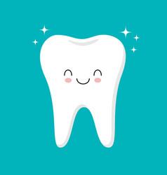 cute healthy shiny cartoon tooth character vector image
