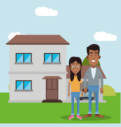 Dad and daughter house vector