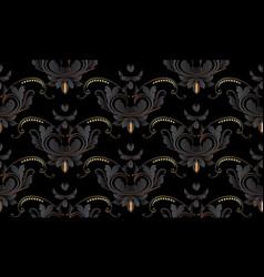 dark black vintage floral seamless pattern vector image
