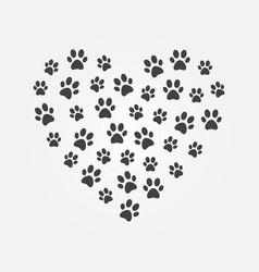 dark cat footprints in heart shape vector image