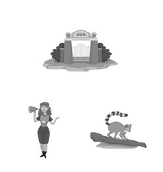 Design zoo and park icon collection of vector