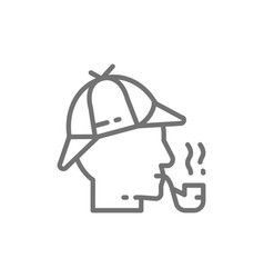 detective sherlock holmes with smoking pipe line vector image