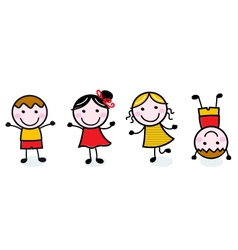 Doodle happy kids group isolated on white vector image