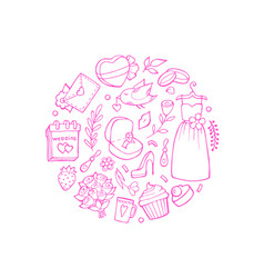 doodle wedding elements in circle shape vector image