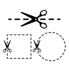 Dotted lines with scissor icon set vector