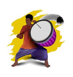 Durga puja dhaki artist vector