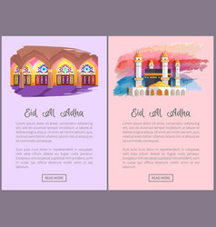 Eid al adha religious holiday info web pages set vector