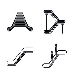 escalator elevator icons set simple style vector image