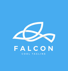 Falcon bird line symbol with soft shadows vector