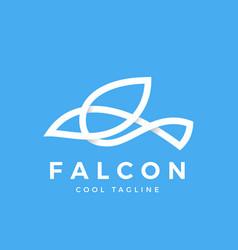 falcon bird line symbol with soft shadows vector image