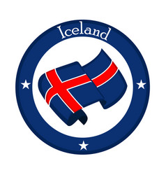Flag of iceland on a label vector