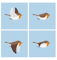 Flying robin animation sprite sheet vector