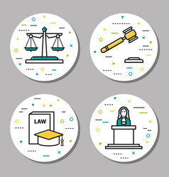 four round judiciary linear icons vector image