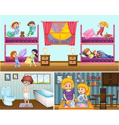 Four scenes of people in the house vector