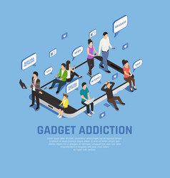 Gadget addiction isometric concept vector