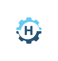 gear solution logo initial h vector image