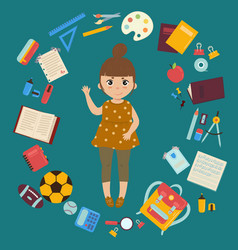 girl with supplies for studies back to school vector image