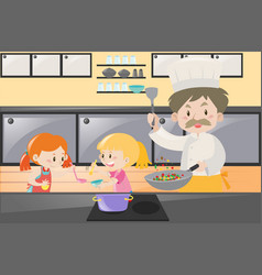 Girls and chef cooking in kitchen vector