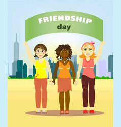 girls of different nations stand holding hands and vector image
