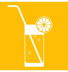 glass lemonade with drinking straw vector image
