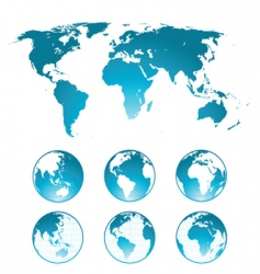 globes and world map vector image
