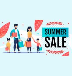 Grand summer sales offer for family flat banner vector