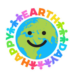 Happy earth day poster bright greeting text vector