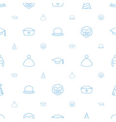 Hat icons pattern seamless white background vector