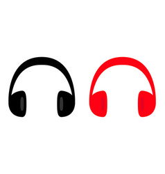 headphones earphones icon set black and red vector image