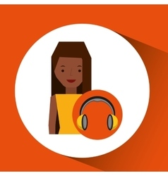 Headphones music character girl afro vector