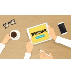Human hands hold a tablet pc with webinar vector image
