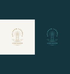 lighthouse line symbol logo emblem design vector image