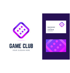 logo and business card template with dice sign vector image