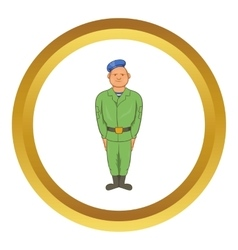 Man in green army uniform icon vector