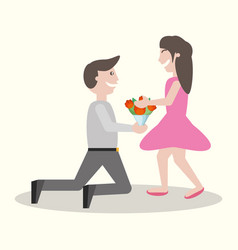 man kneel gives flowers girl vector image