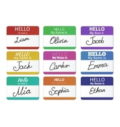 Name tag set hello my name is vector