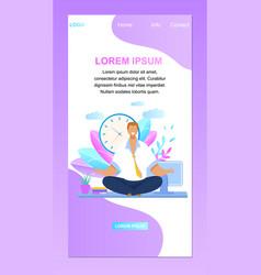 office worker meditating website banner vector image