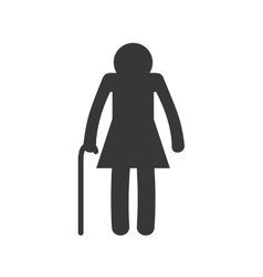 old woman female pictogram silhouette icon vector image