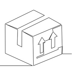One continuous line delivery box concept vector