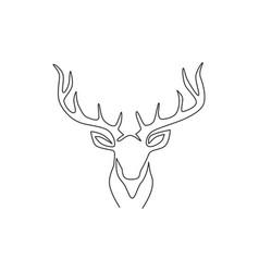 one single line drawing adorable head deer vector image